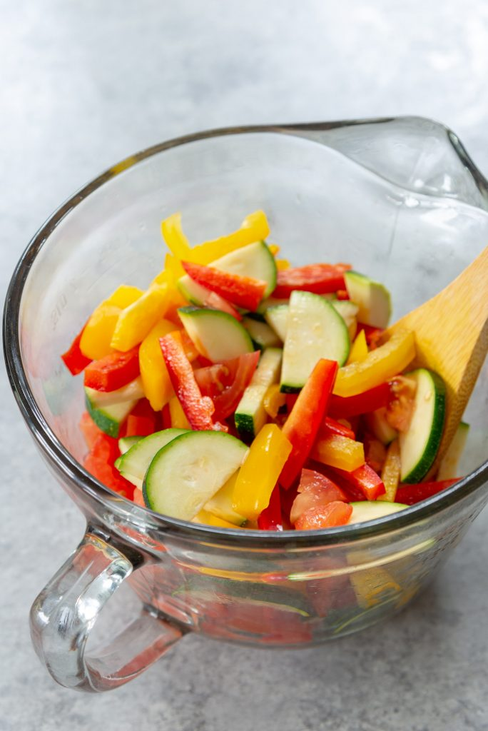 sliced vegetables for pasta primavera
