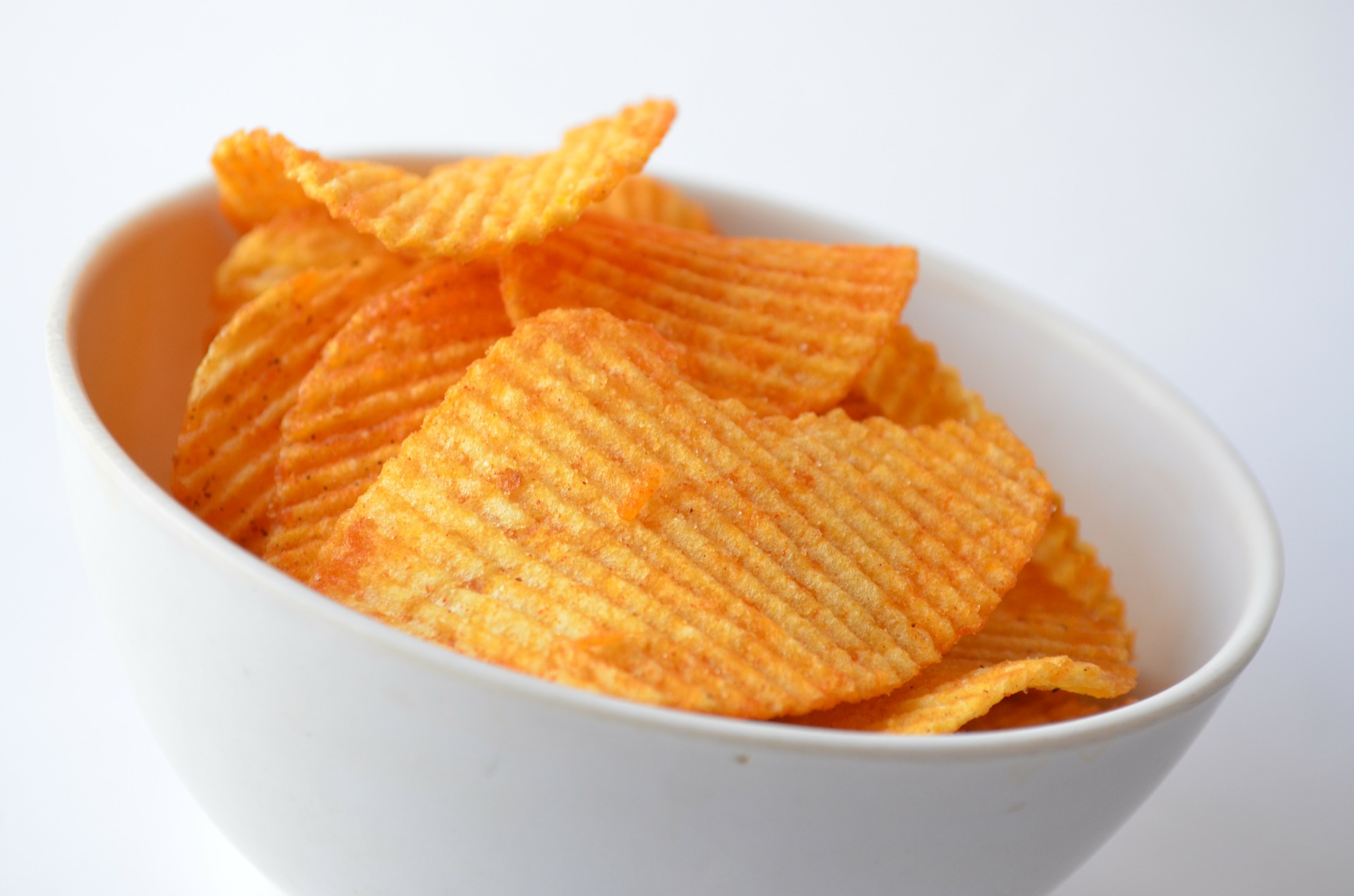 Potato chips in a small dish