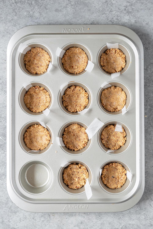 peanut butter cups in a muffin tin
