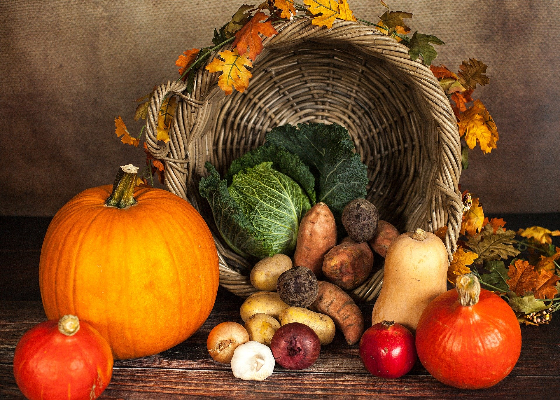 fall vegetables on display for thanksgiving